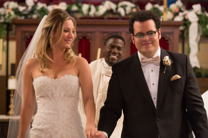 Gretchen Palmer (Kaley Cuoco) and Doug Harris (Josh Gad) with Jimmy Callahan (Kevin Hart) looking on in Screen Gems' THE WEDDING RINGER.